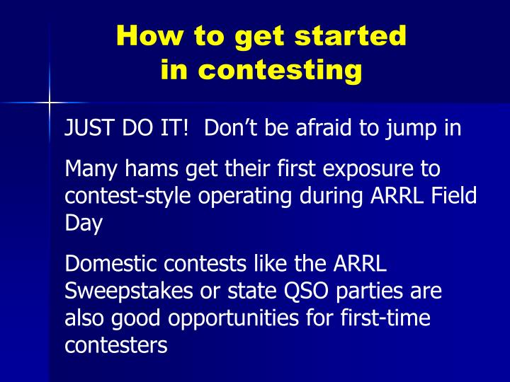 How to get started in contesting