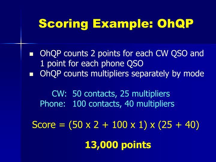 Scoring Example: OhQP