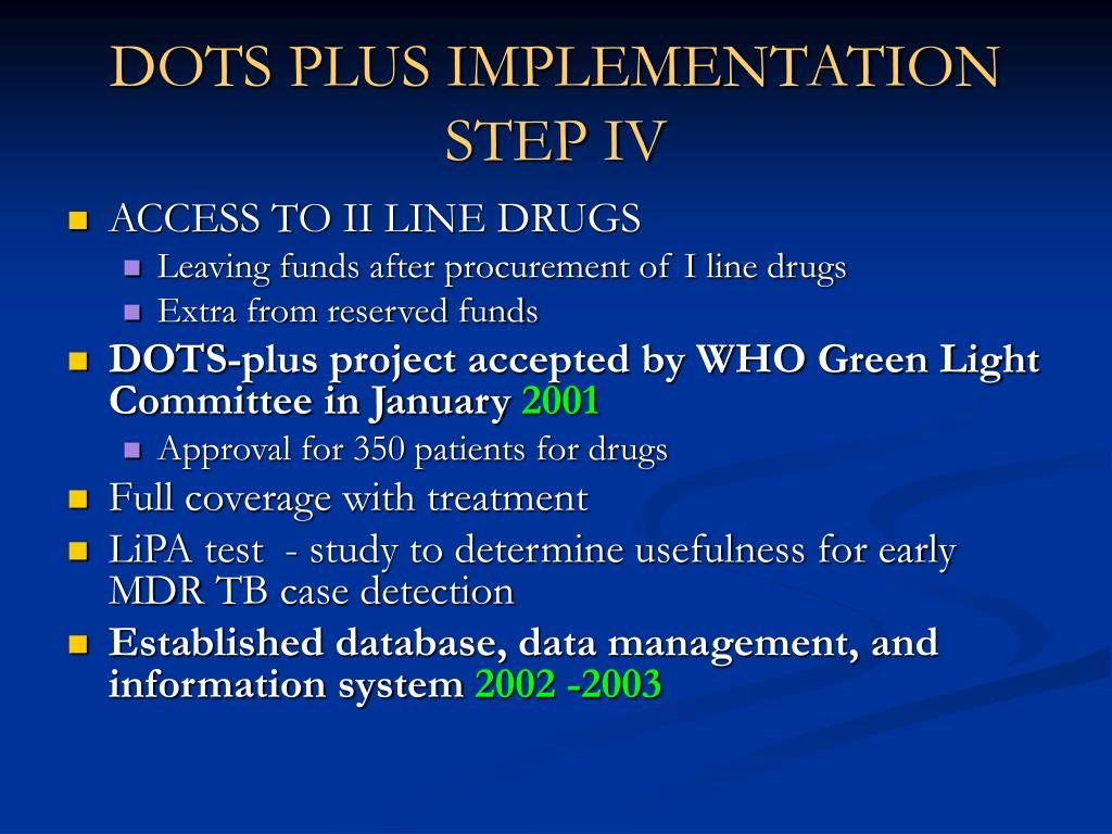 DOTS PLUS IMPLEMENTATION STEP IV