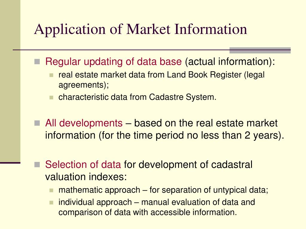 Application of Market Information