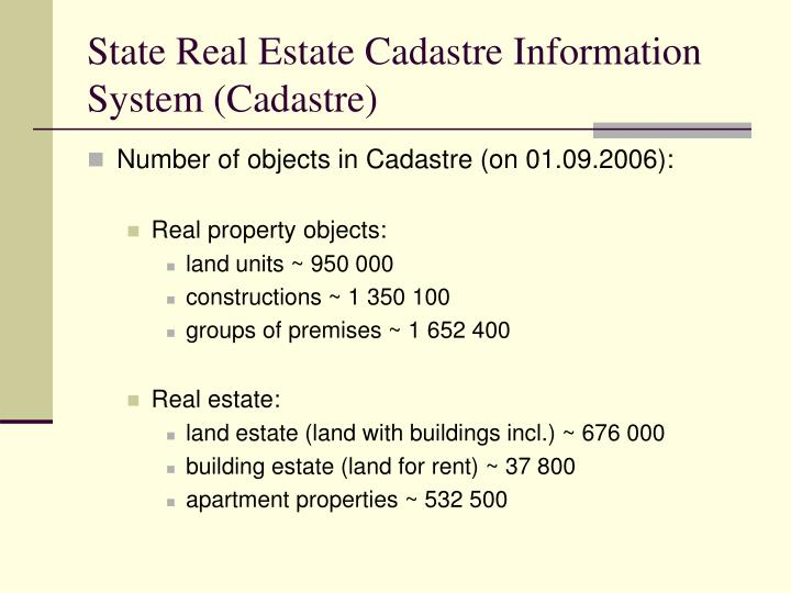 State real estate cadastre information system cadastre