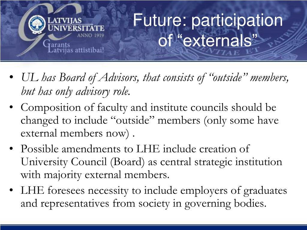 "Future: participation of ""externals"""