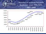 number of students in latvia academic years 1990 1991 2007 2008