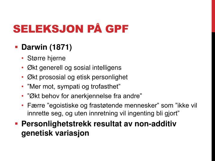 Seleksjon på GPF