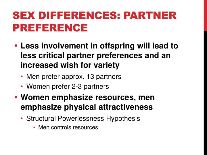 Sex Differences: Partner Preference