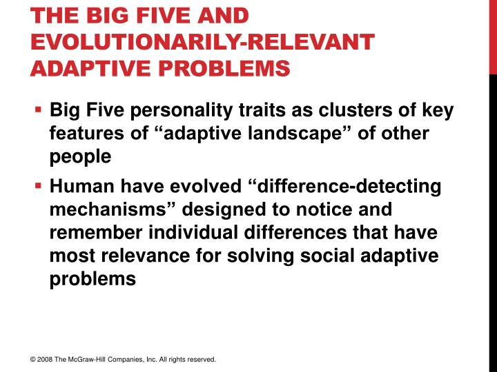 The Big Five and Evolutionarily-Relevant Adaptive Problems