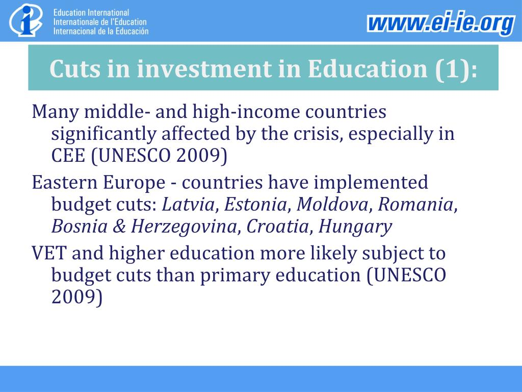 Cuts in investment in Education (1):