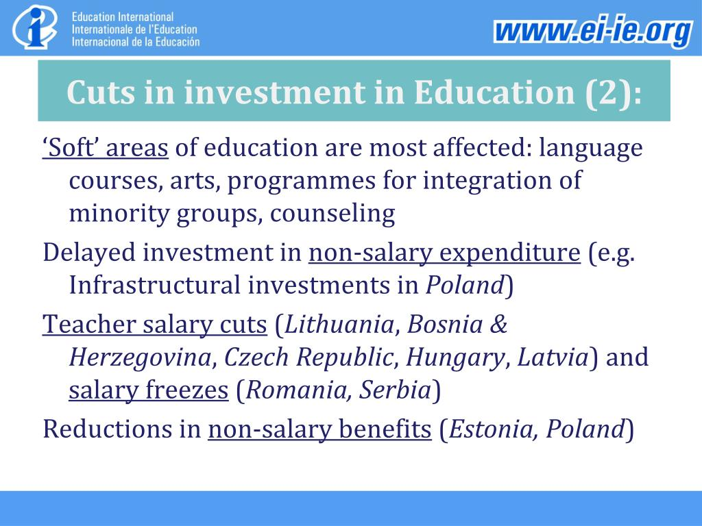Cuts in investment in Education (2):