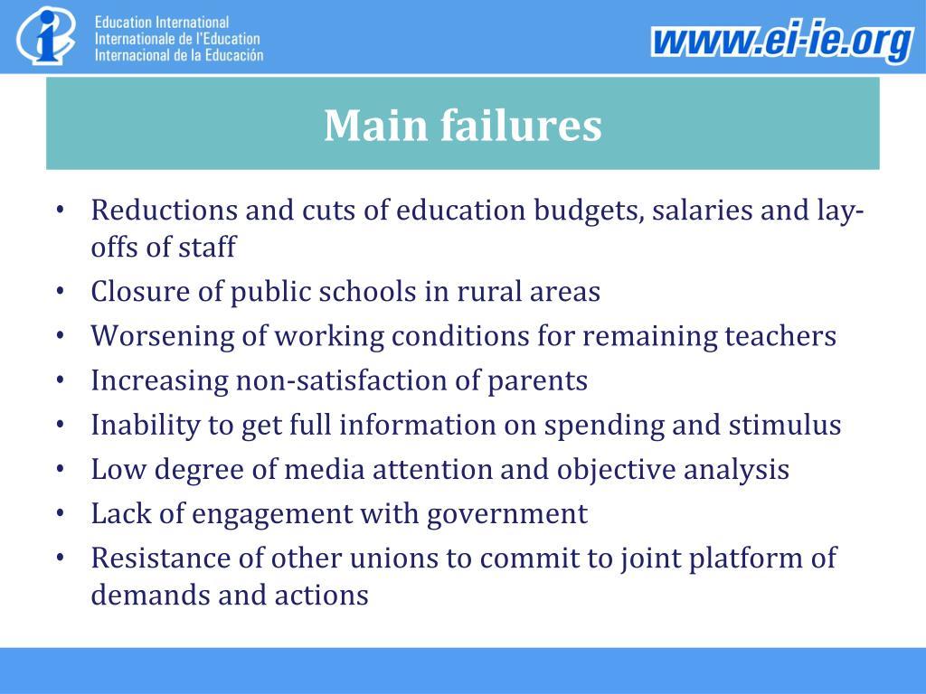 Main failures