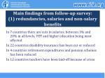 main findings from follow up survey 1 redundancies salaries and non salary benefits