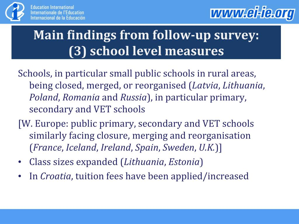 Main findings from follow-up survey: