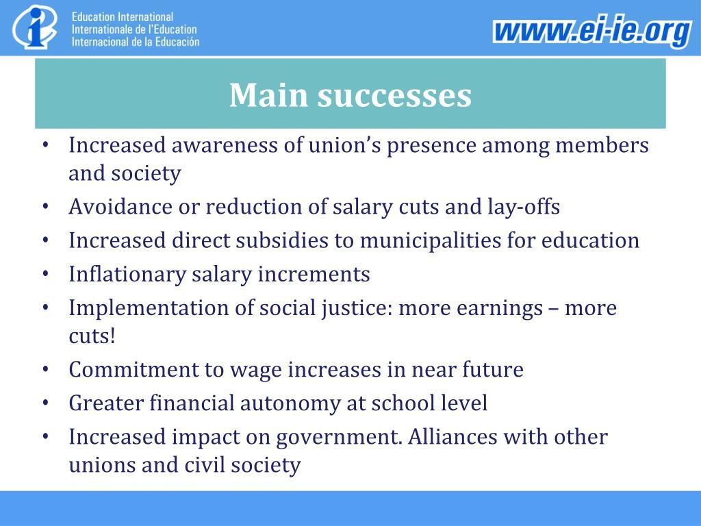Main successes