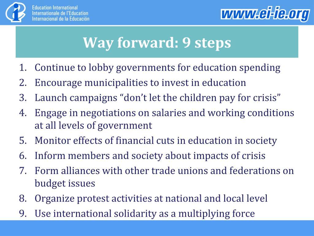 Way forward: 9 steps