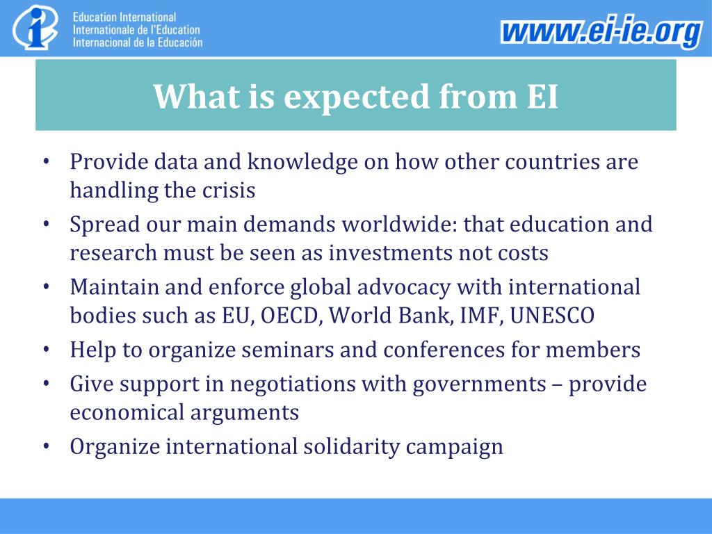 What is expected from EI