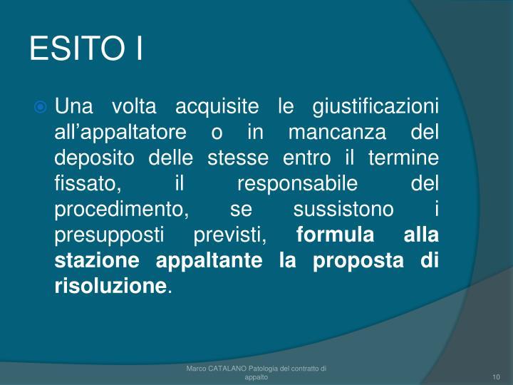 ESITO I