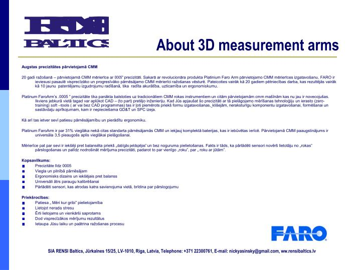 About 3d measurement arms