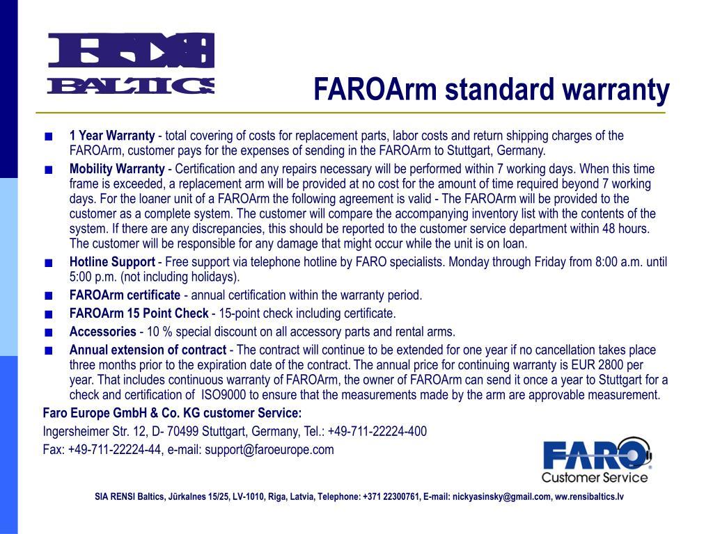 FAROArm standard warranty