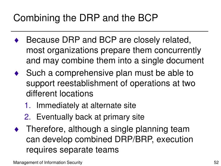 Combining the DRP and the BCP