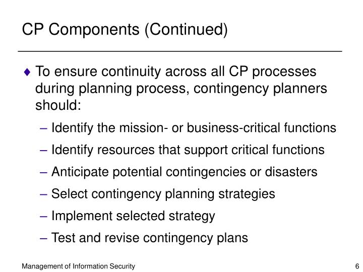 CP Components (Continued)