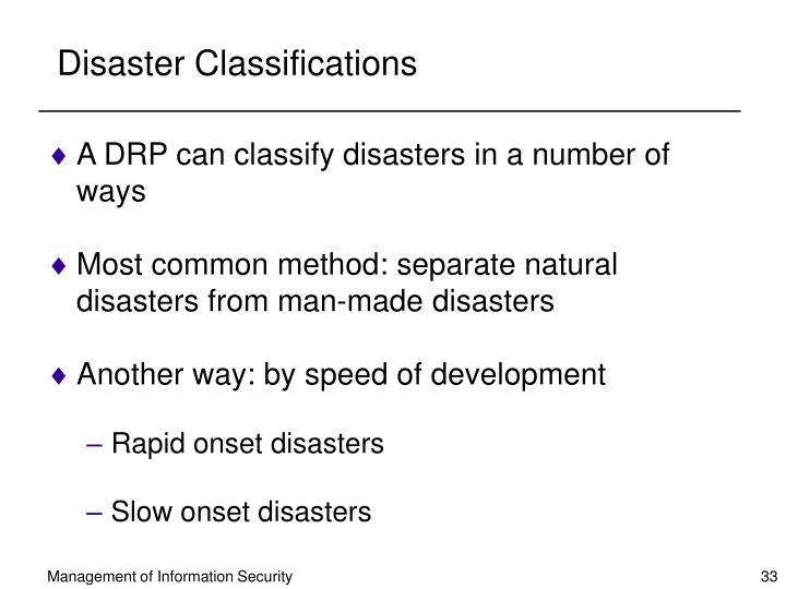 Disaster Classifications