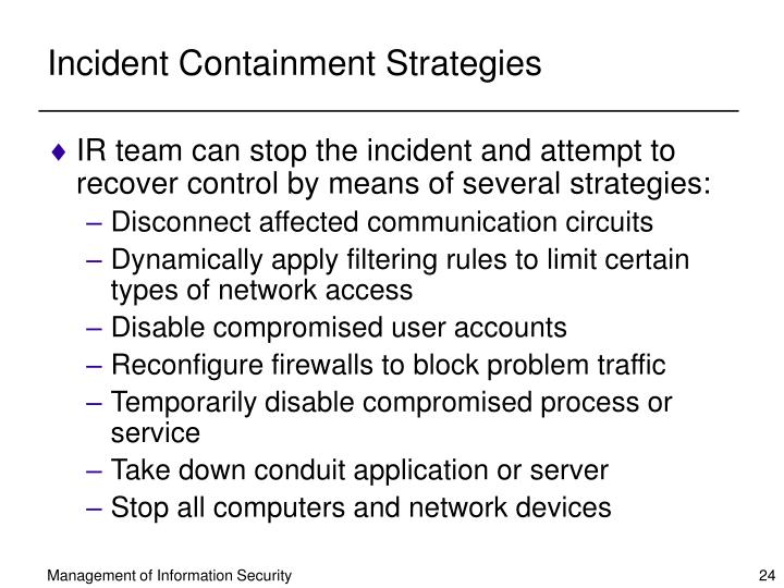 Incident Containment Strategies