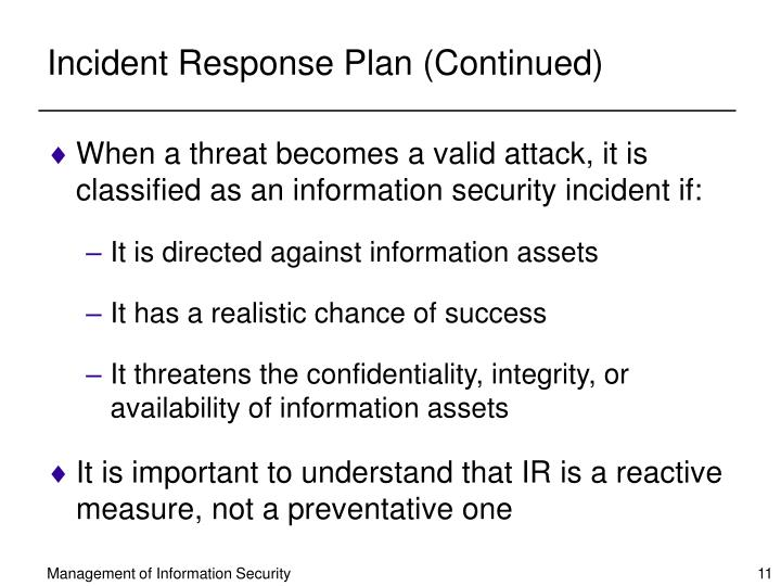 Incident Response Plan (Continued)