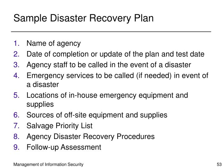 Sample Disaster Recovery Plan