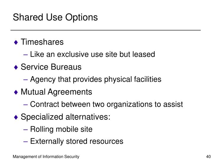 Shared Use Options