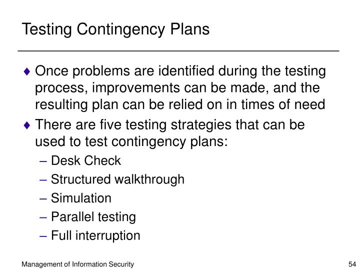 Testing Contingency Plans