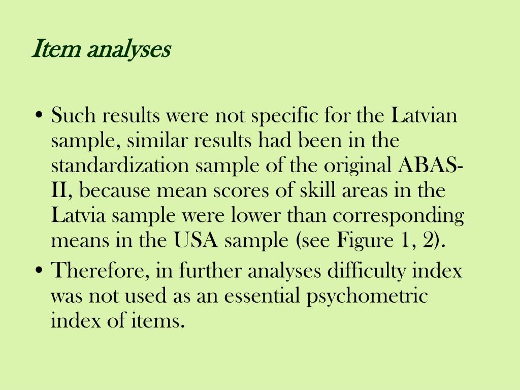Item analyses