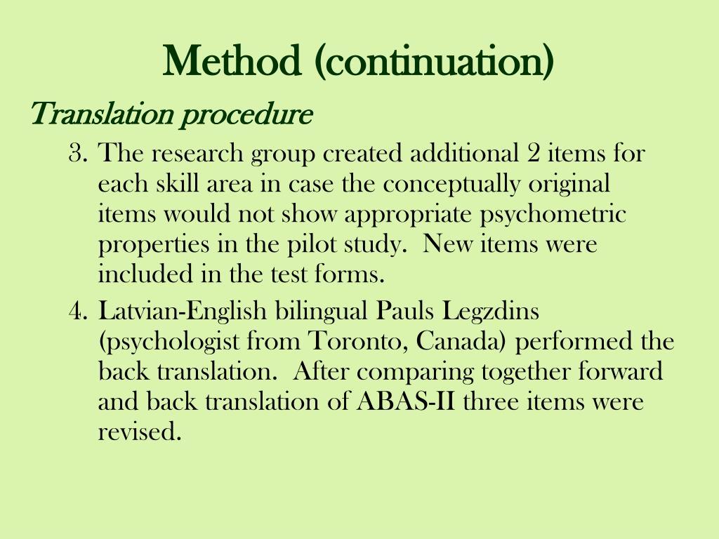 Method (continuation)