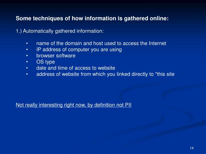 Some techniques of how information is gathered online: