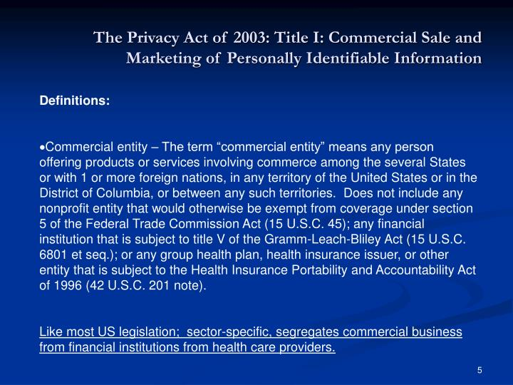The Privacy Act of 2003: Title I: Commercial Sale and Marketing of Personally Identifiable Information