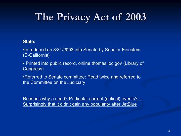The privacy act of 20031