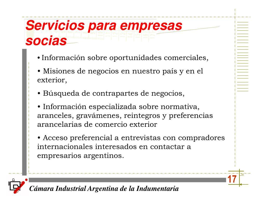 Servicios para empresas socias