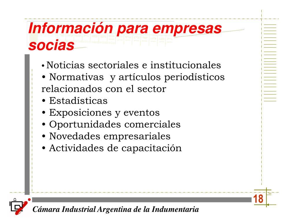 Información para empresas socias