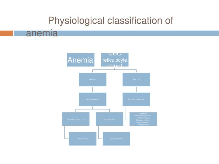 Physiological classification of anemia