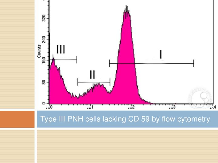 Type III PNH cells lacking CD 59 by flow