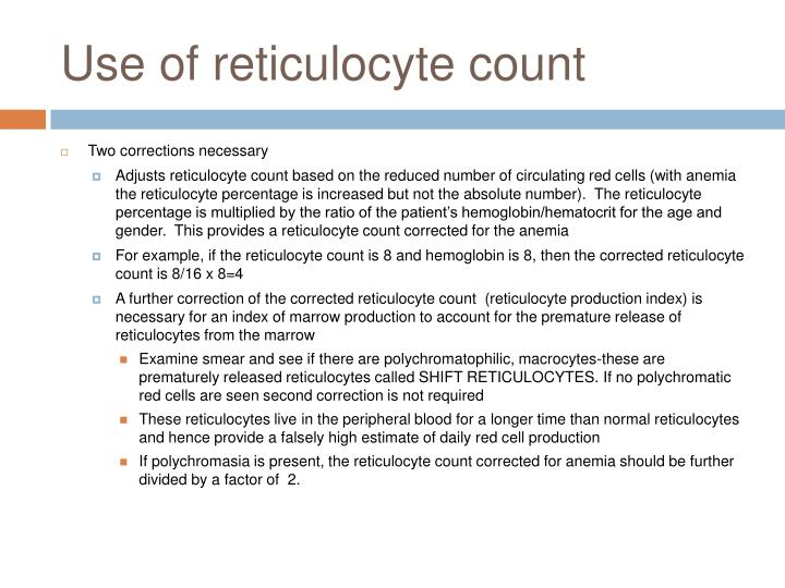 Use of reticulocyte count