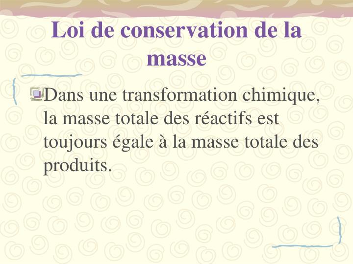 Loi de conservation de la masse