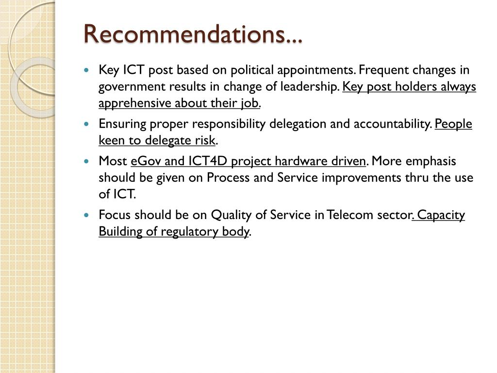 Recommendations...