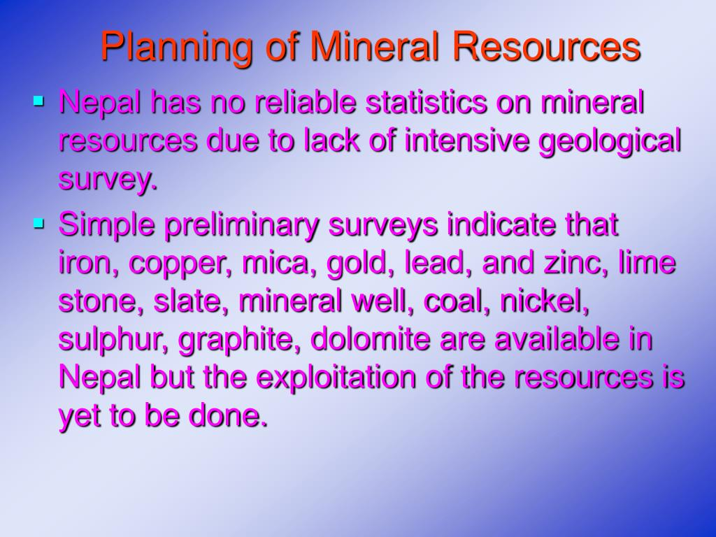 Planning of Mineral Resources
