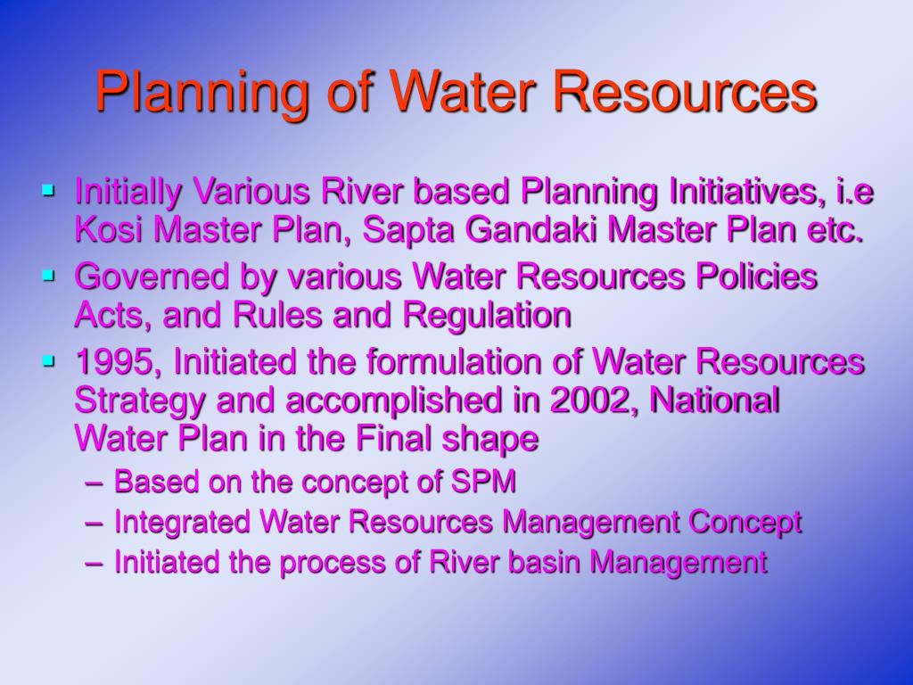 Planning of Water Resources