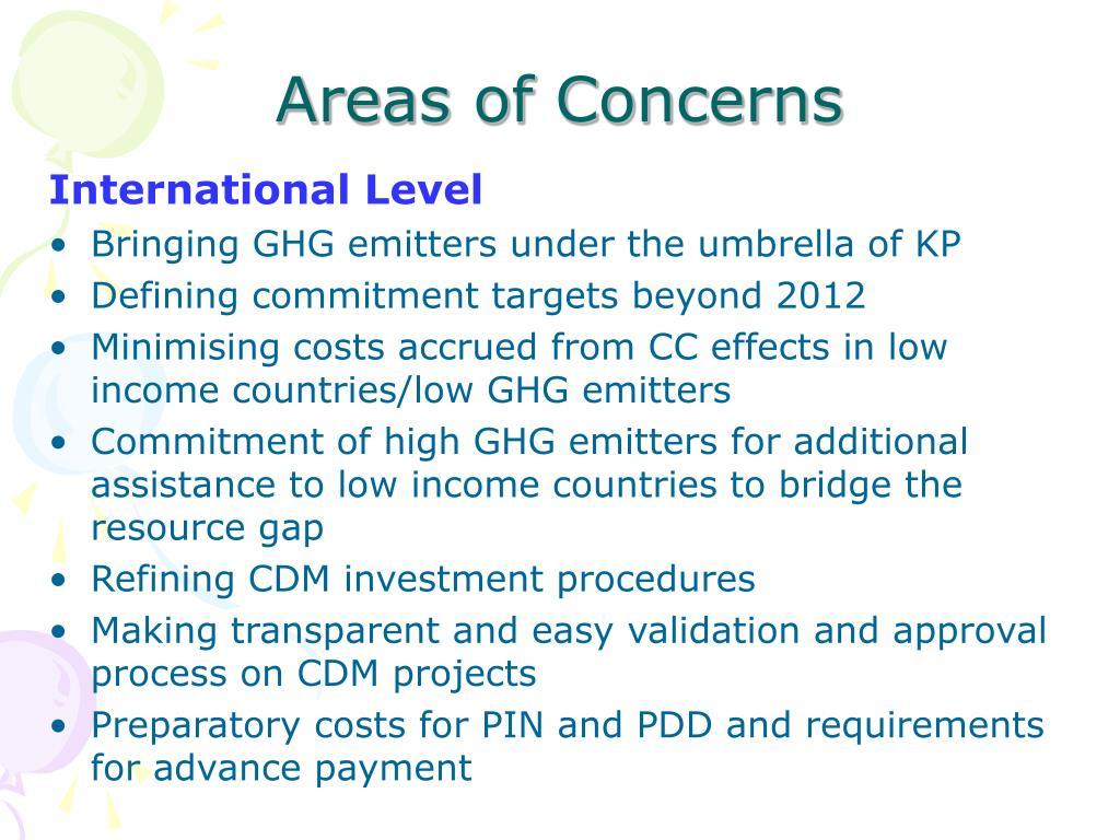 Areas of Concerns