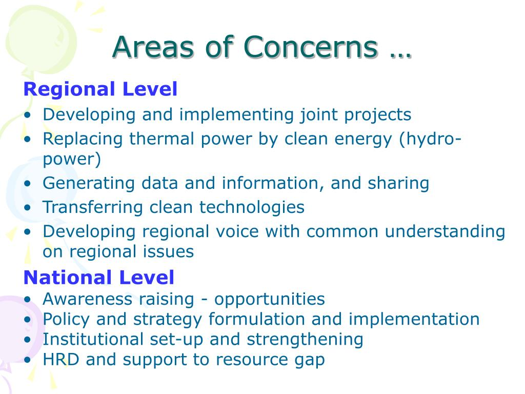 Areas of Concerns …