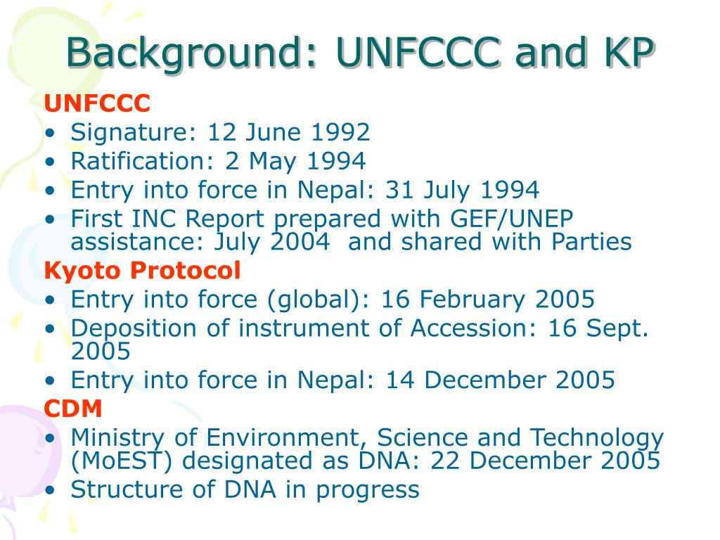 Background: UNFCCC and KP