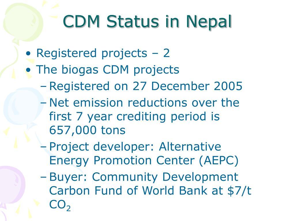 CDM Status in Nepal