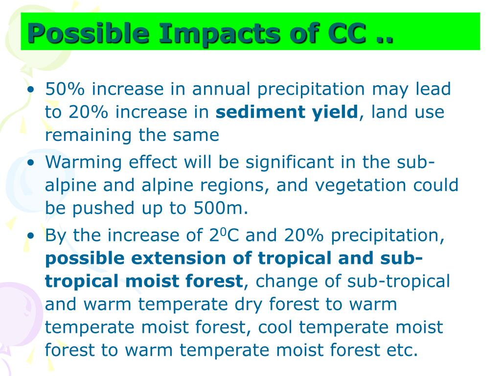 Possible Impacts of CC ..