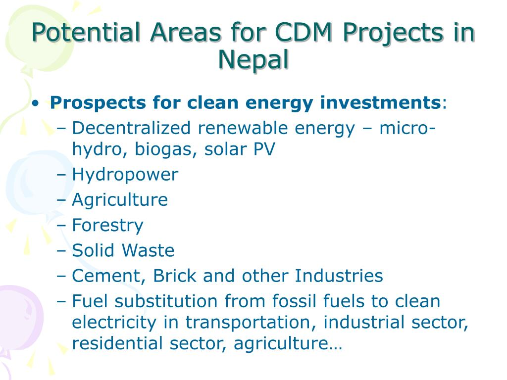 Potential Areas for CDM Projects in Nepal