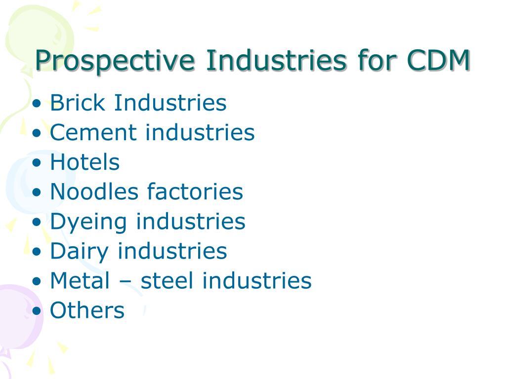 Prospective Industries for CDM